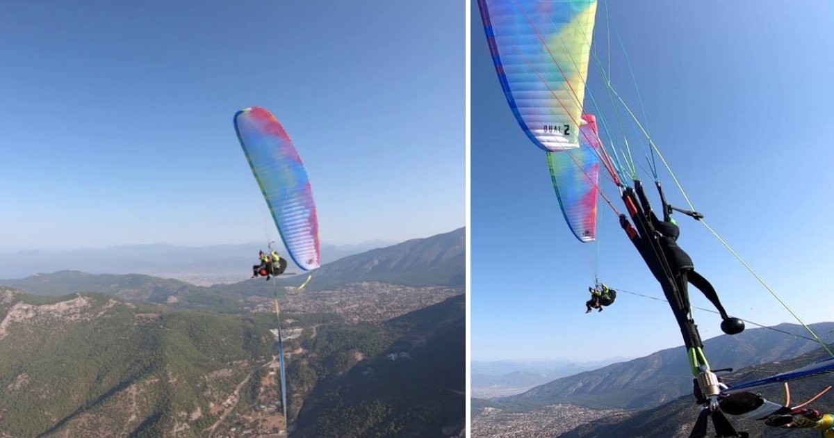 3 118.jpg?resize=1200,630 - Fearless Man Balanced Himself On The Slackline In The Middle Of Two Paragliders