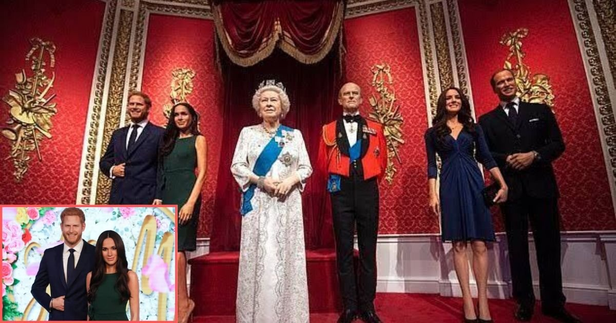 4 40.jpg?resize=1200,630 - Madame Tussauds Separated The Wax Statue of Prince Harry And Meghan Markle From The Rest Of The Royal Family