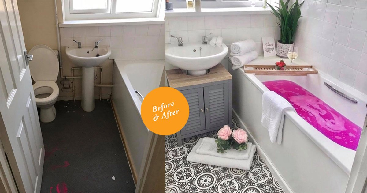 a mother transformed her bathroom into a stunning sanctuary for 95.jpg?resize=412,232 - A Mother Transformed Her Bathroom Into A Stunning Sanctuary For $125