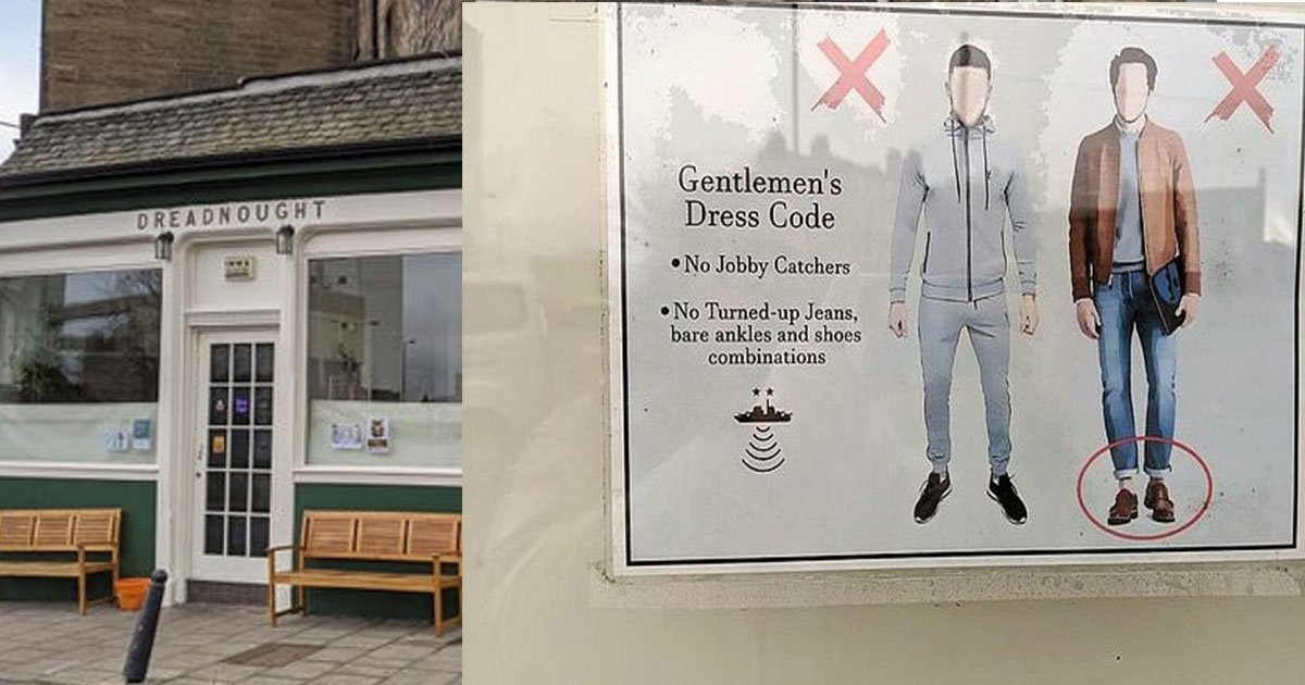 a pub banned grey tracksuits and outfits that show off mens bare ankles.jpg?resize=1200,630 - A Pub Put Up A Dress Code That Banned Tracksuit Bottoms And Shoes With No Socks