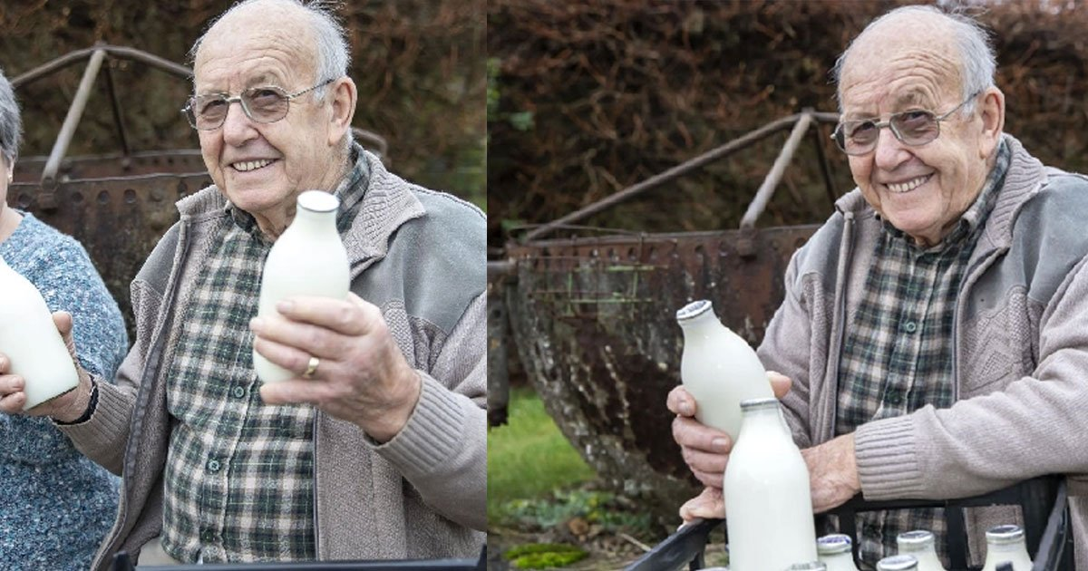 an 85 year old man has been delivering milk to customers in holcot for 70 years.jpg?resize=1200,630 - An 85-Year-Old Man Delivered Milk To Customers For 70 Years