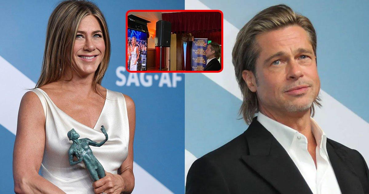 brad pitt captured watching jennifer anistons sag award acceptance speech from backstage.jpg?resize=1200,630 - Brad Pitt Captured Watching Jennifer Aniston's SAG Award Acceptance Speech From Backstage