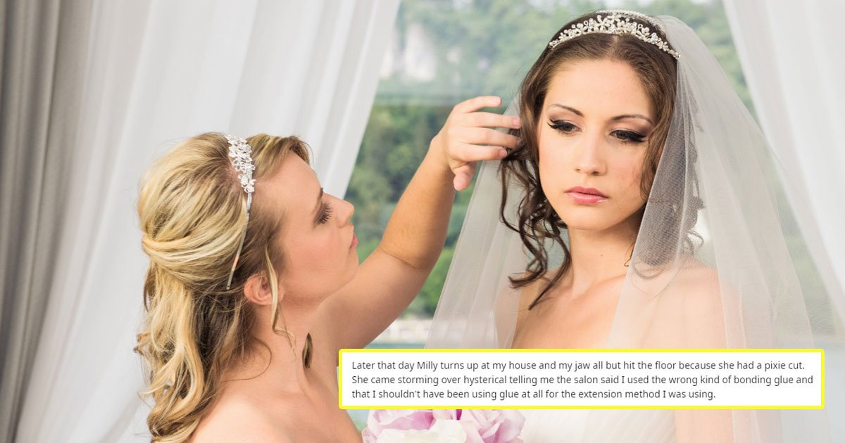 bride forced to wear wig hairdresser.jpg?resize=1200,630 - A Hairdresser Refused To Pay $1300 For Her Cousin's Wig After Ruining Her Wedding Hair