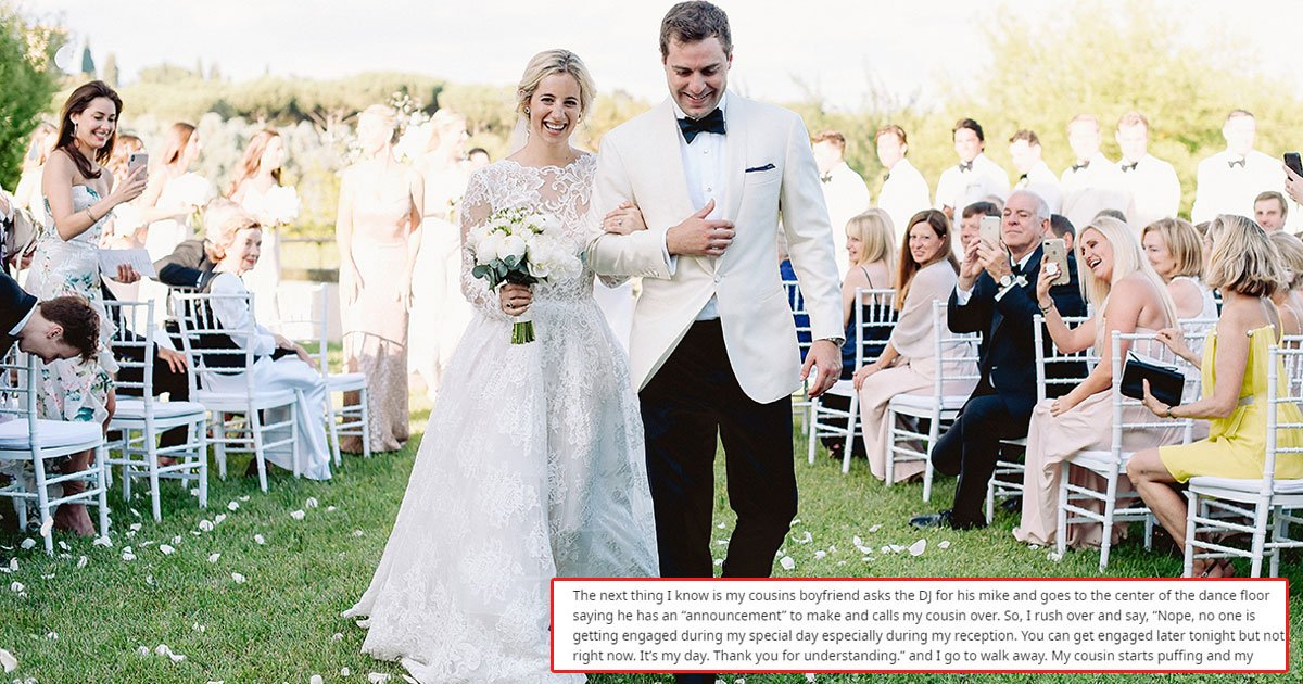 bride refused to propose at her wedding couple planned revenge.jpg?resize=1200,630 - Bride Didn't Let Cousin's Boyfriend Propose At Her Wedding - The Couple Took Revenge On The Bride A Few Months Later