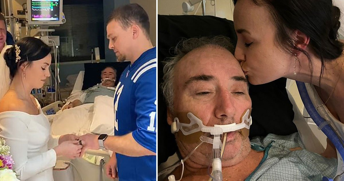 couple married icu.jpg?resize=1200,630 - Couple Tied The Knot In The ICU So The Bride's Father Could 'See His Baby Girl Get Married'