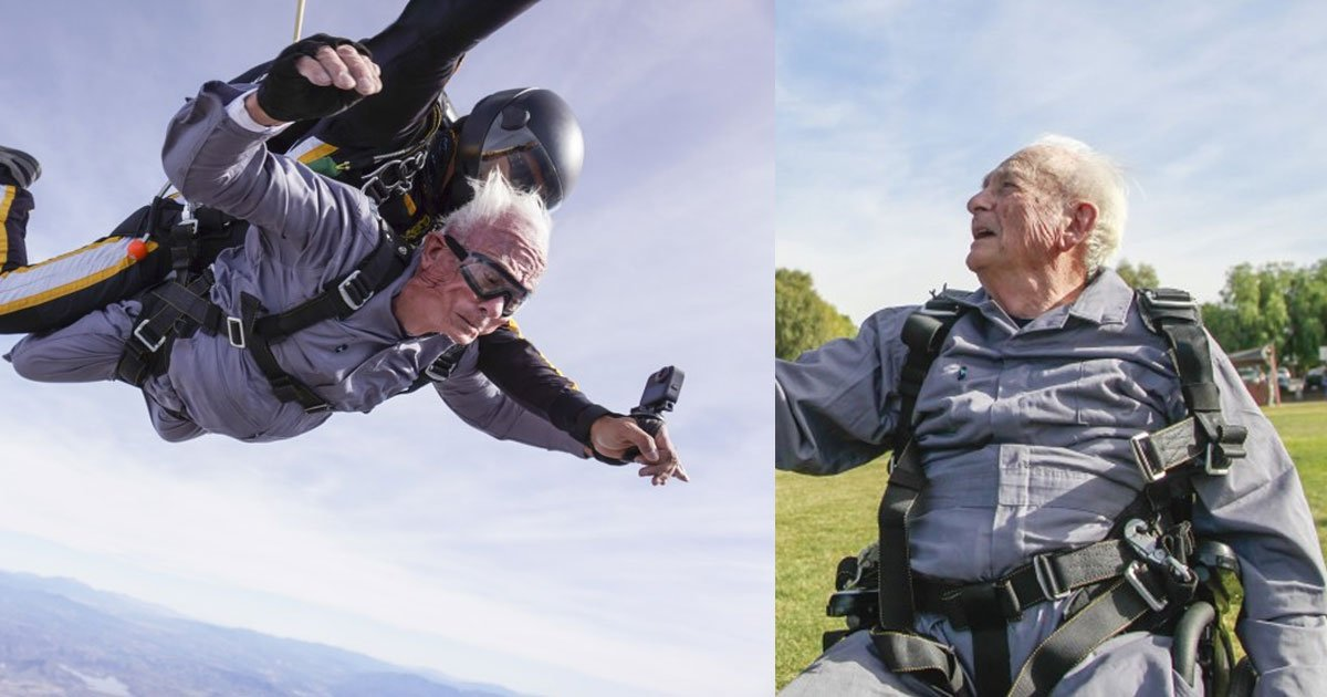double amputee air force veteran went skydiving in lake elsinore to celebrate his 90th birthday.jpg?resize=1200,630 - Double-Amputee Veteran Went Skydiving To Celebrate His 90th Birthday