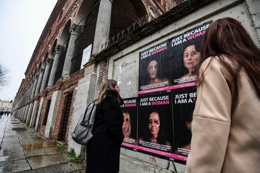 milan1.jpg?resize=1200,630 - Violences faites aux femmes : Une campagne choc à Milan montre les visages tuméfiés de personnalités publiques