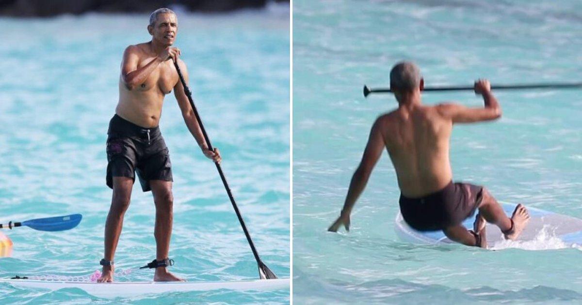 obama7.png?resize=412,232 - Barack Obama a été photographié en train de faire du paddle à Hawaï