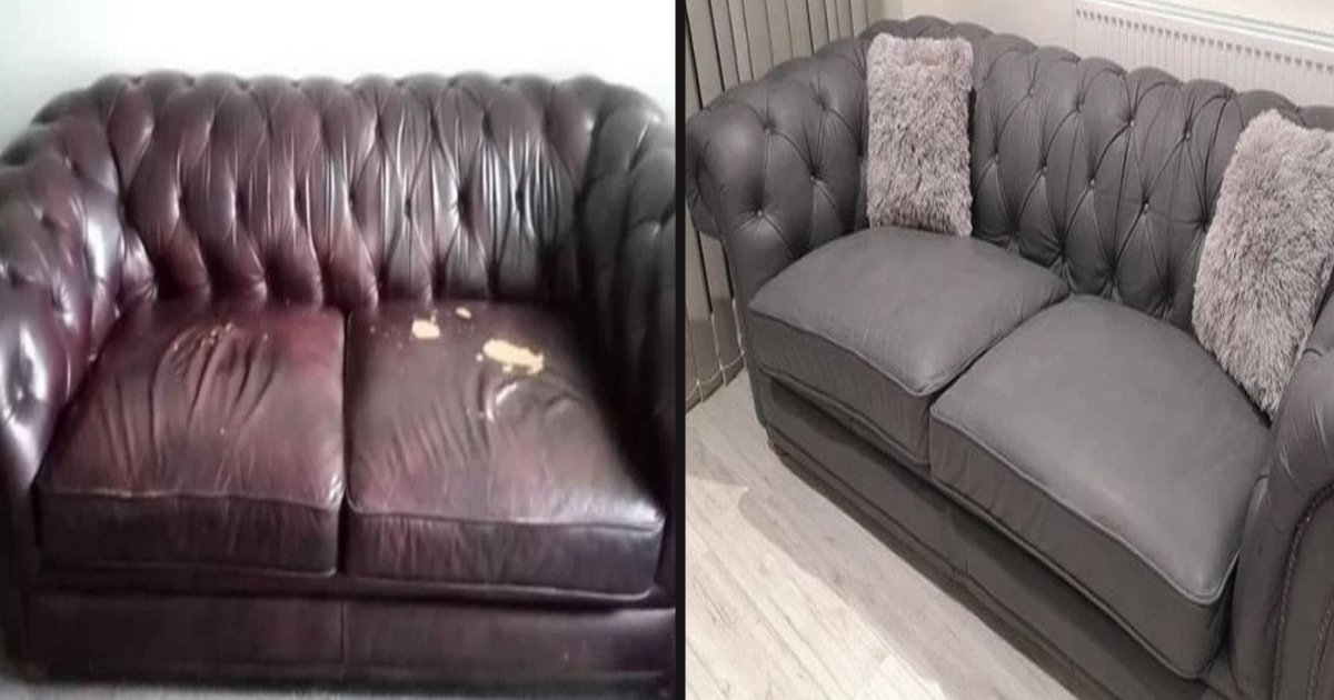 untitled 1 119.jpg?resize=1200,630 - A Woman Transformed An Old Leather Sofa For Just $40 Using Gray Paint