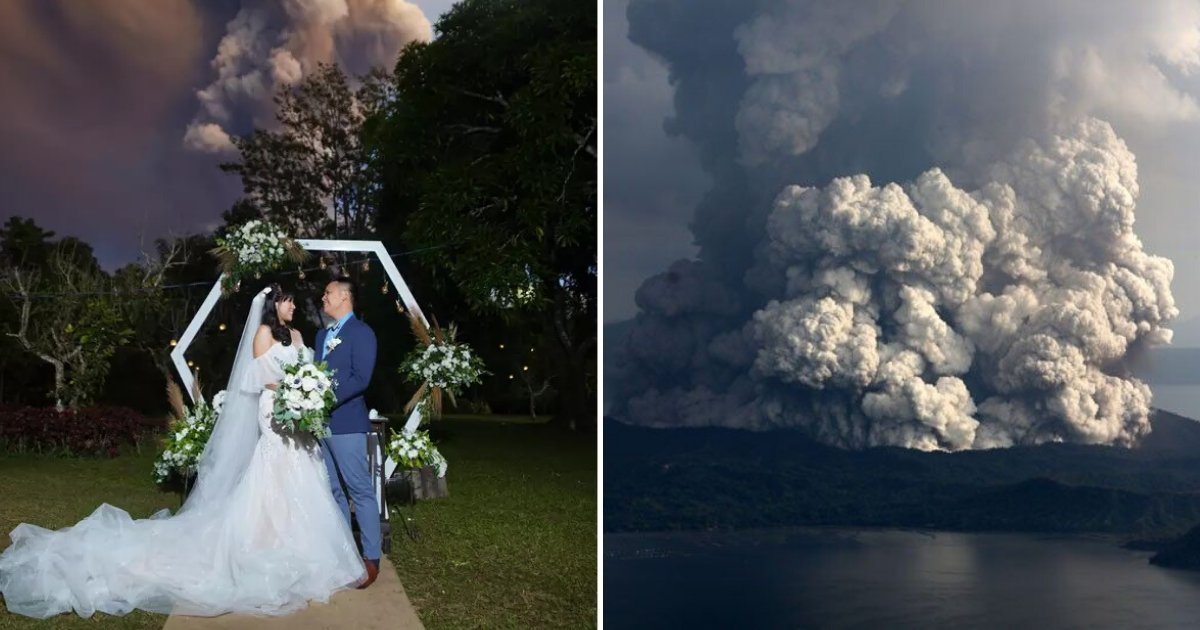 untitled design 36 1.png?resize=1200,630 - Couple Continued Their Wedding While Volcano Was Spewing Ash In The Background