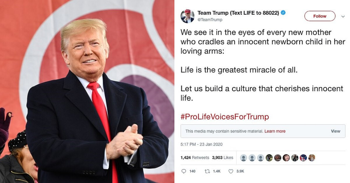 untitled design 59 2.png?resize=1200,630 - Twitter Slapped Trump's March For Life Post With A 'Sensitive Material' Warning