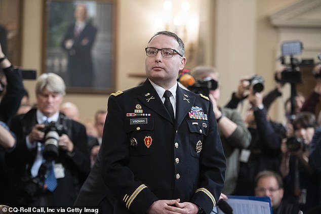 Lt. Colonel AlexanderVindman was first White House official on July 25 call to testify and he said he believed Trump acted