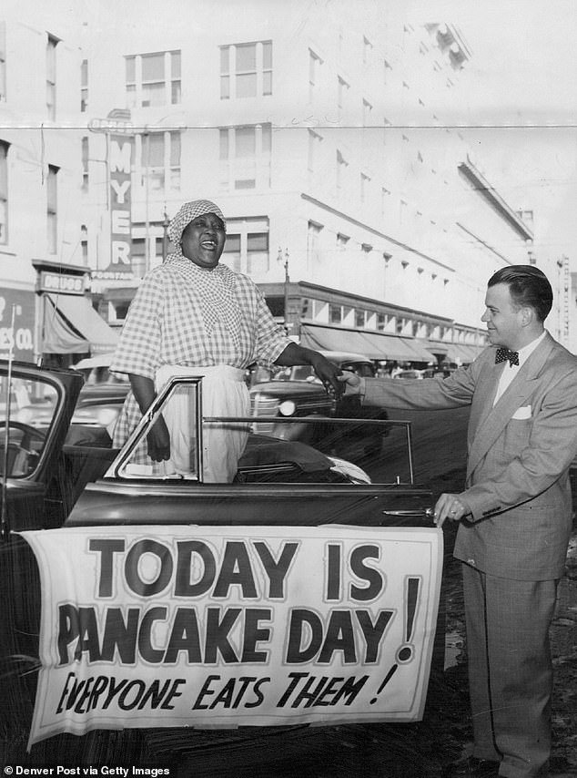 A woman playing Aunt Jemima in 1951. Multiple women have been tapped to play the iconic role