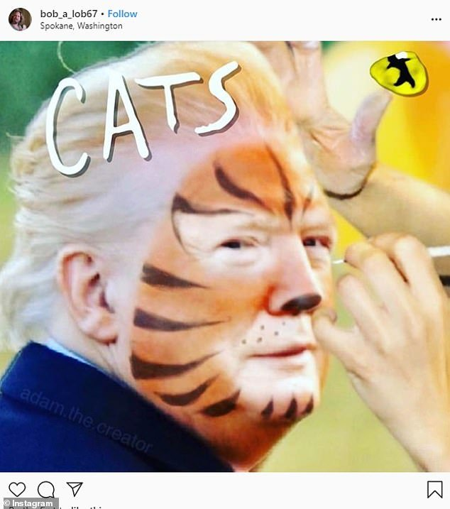 A popular comparison for the photo was with the movie Cats showing Trump in face paint