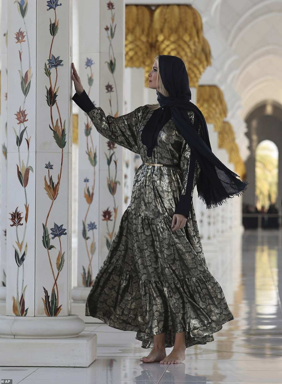 Ivanka Trump arrived in the United Arab Emirates on Saturday ahead of the two-day Global Women´s Forum in Dubai. She is pictured during a tour of Sheikh Zayed Grand Mosque in Abu Dhabi