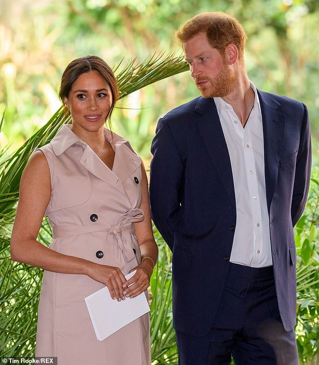 Meghan Duchess of Sussex and Prince Harry attending a Creative Industries and Business Reception the garden of her High Commissioner
