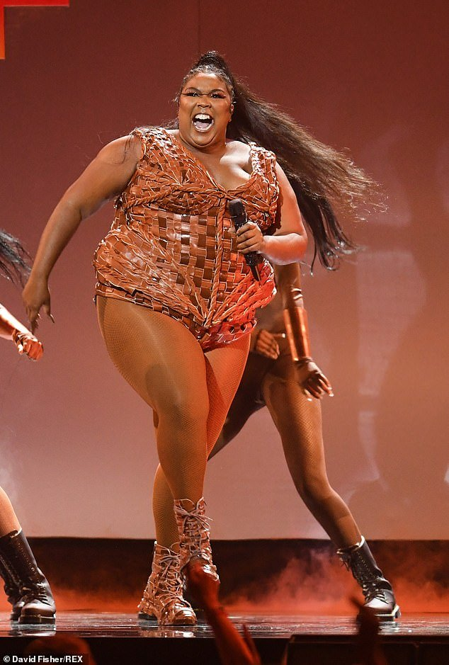Wow factor: Lizzo pulled out all the stops as she took to the stage for the Brit Awards at the O2 Arena on Tuesday night