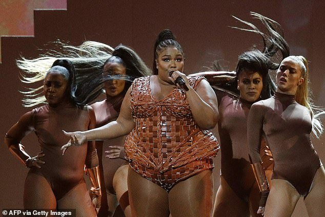 Born performer: Lizzo, who stormed the charts in the past year with her hits, Truth Hurts, Juice and Good as Hell put on a show to remember as she sang her catchy tunes
