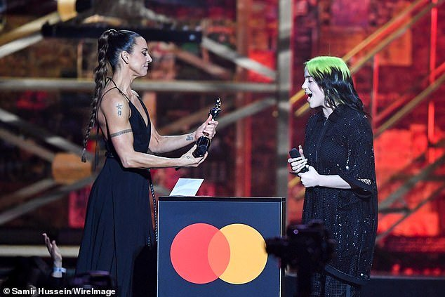 Nominee: Lizzo, 31, was up for Best International Female but missed out on the award to Billie Eilish (pictured with Mel C)