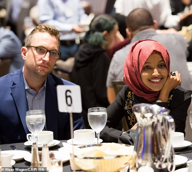DailyMail.com then revealed that Omar was having an affair with her chief fundraiser Tim Mynett, a married father-of-one, whose company received more than half a million dollars from her campaign last year. The two are pictured together on May 26 at a Council on American-Islamic Relations (CAIR) event - a month after he told his wife he was leaving her