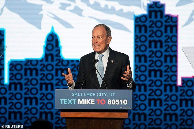 Democratic presidential candidate Mike Bloomberg holding a campaign rally in Salt Lake City, Utah, last week