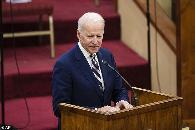 Democratic presidential candidate former Vice President Joe Biden at services on Sunday at the Royal Missionary Baptist Church in North Charleston