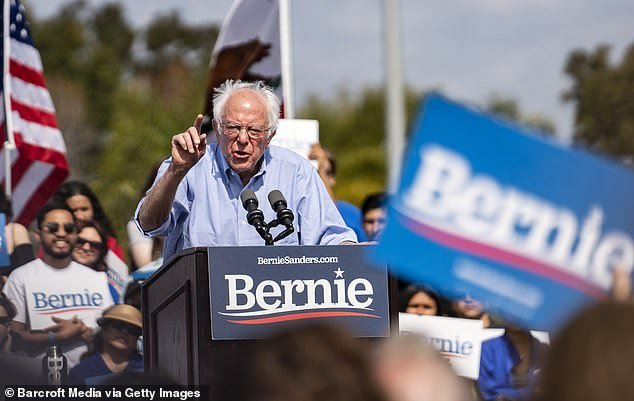 Democratic presidential candidate Senator Bernie Sanders speaking during a campaign rally in Santa Ana, California, last Friday