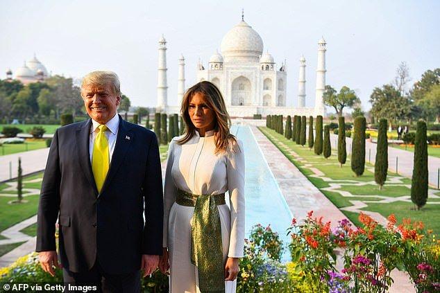 President Trump and Melania Trump pose in front of the Taj Mahal