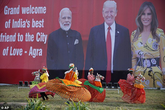Melania Trump received equal billing with President Trump on billboards welcoming the first couple to India