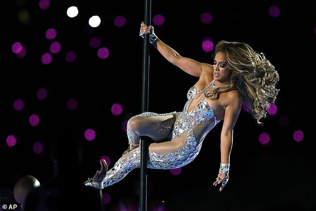 Having a swinging good time: Lopez flawlessly descended down the pole