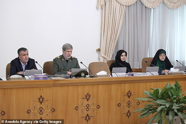 Iranian Vice President for Women and Family Affairs Masoumeh Ebtekar (right) makes a speech during the Council of Ministers meeting in Tehran yesterday