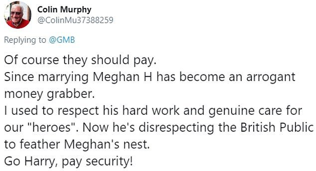 UKIP founder Alan Sked was among social media users who today attacked the idea of British taxpayers footing Meghan and Harry