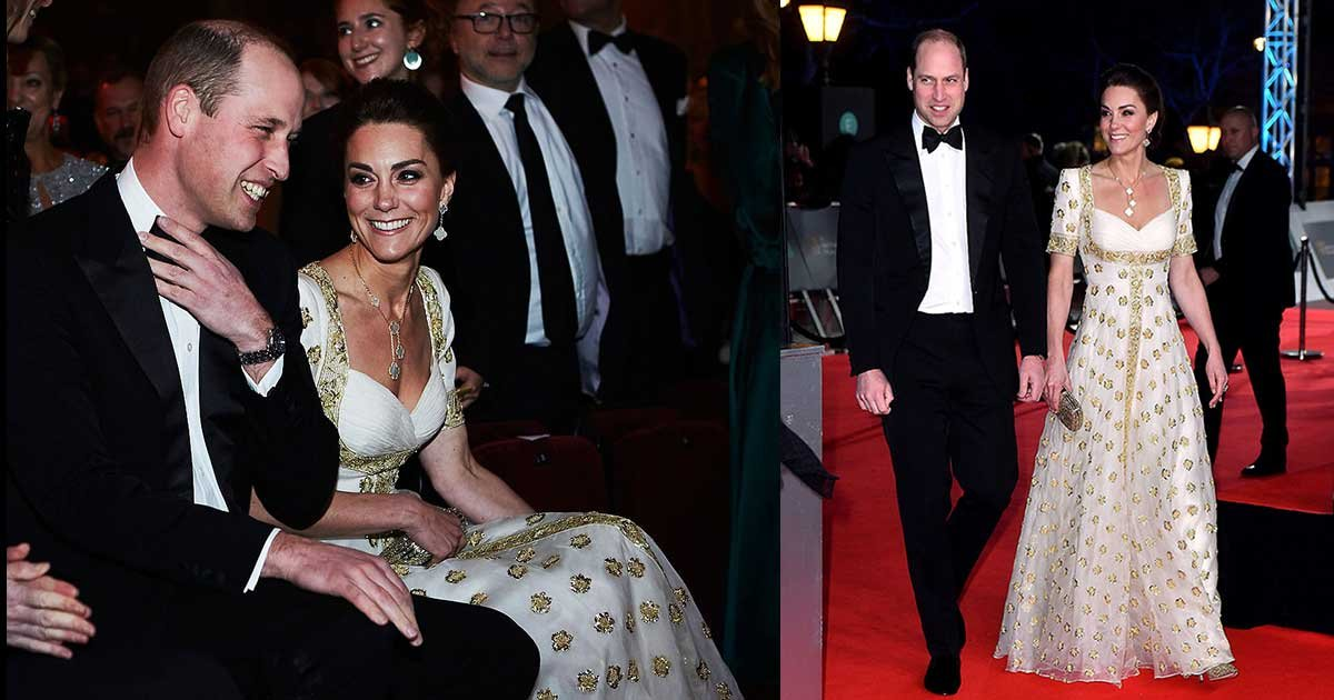 2 panel.jpg?resize=412,275 - Duchess Kate Middleton Slay BAFTA Red Carpet with a White and Gold Gown by Alexander McQueen