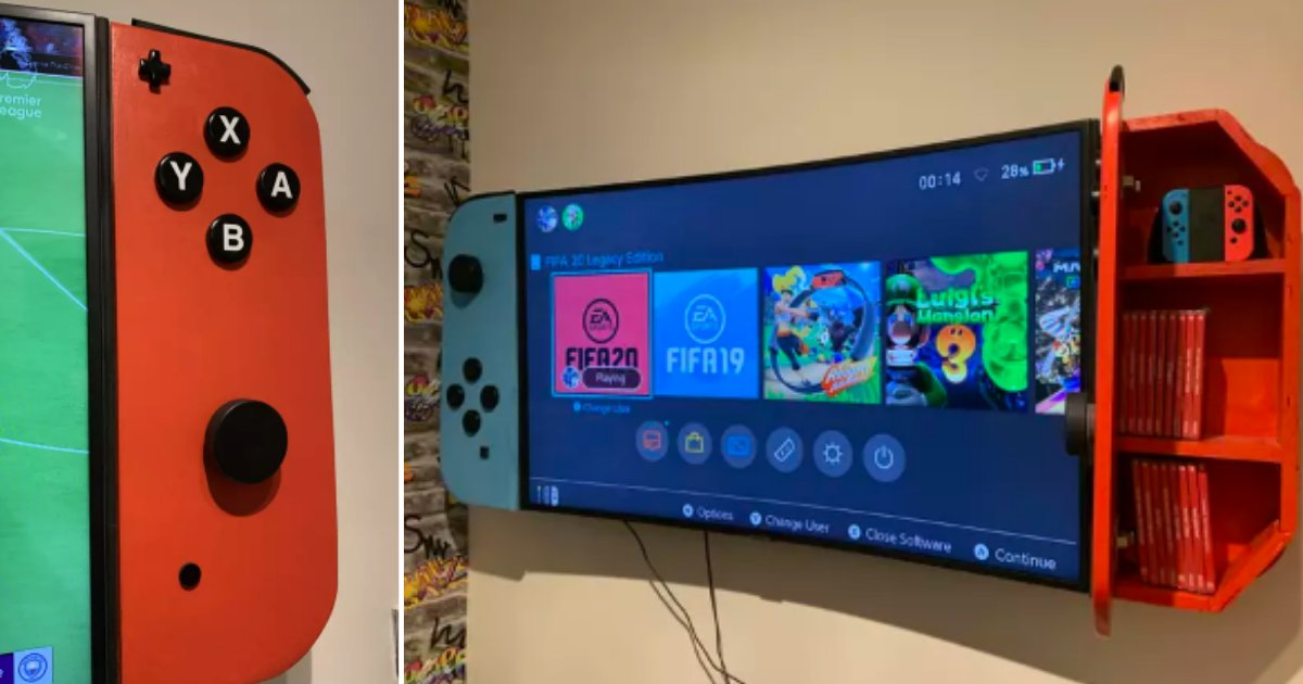 3 4.png?resize=1200,630 - Dad Created A Massive Nintendo Switch Television For His Son's Bedroom