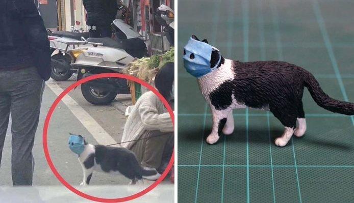 animal e1581579551375.jpg?resize=412,232 - Un artiste a fait une sculpture inspirée de la photo d'un chat portant un masque facial pour le protéger du coronovirus