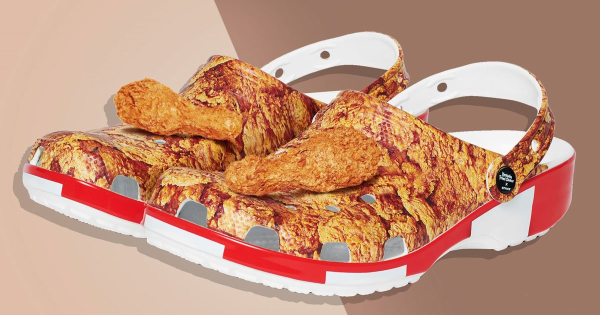 crocs and kfc teamed up to launch fried chicken themed shoes.jpg?resize=1200,630 - Crocs And KFC Teamed Up To Launch Fried Chicken-Themed Shoes