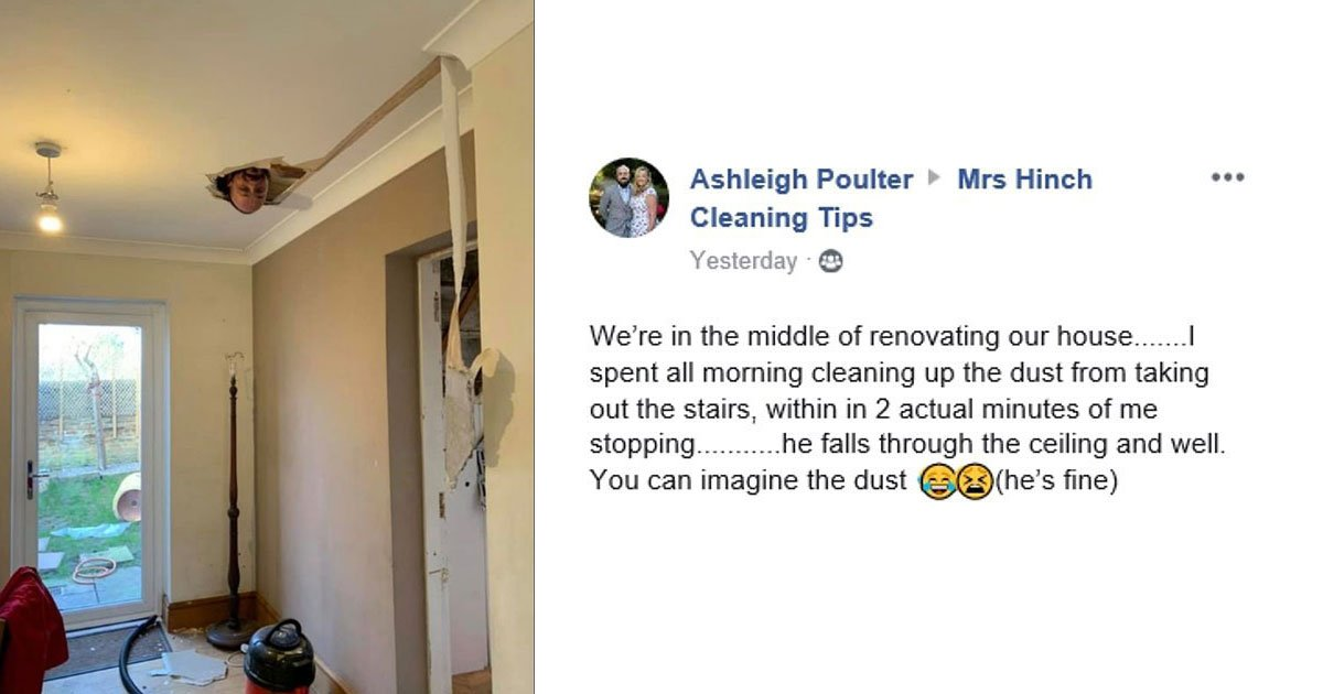 husband fell through ceiling.jpg?resize=1200,630 - Husband Fell Through The Ceiling During Home Renovation After His Wife Cleaned Up A Big Mess