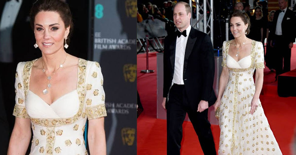 kate middleton looked stunning in her recycled white and gold alexander mcqueen gown at bafta award ceremony.jpg?resize=412,232 - Kate Middleton était encore resplendissante dans sa robe créée par Alexander Mcqueen