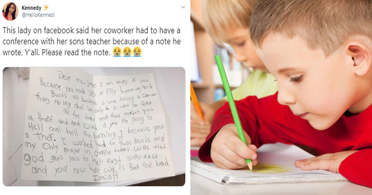 kids hilarious letter to teacher haircut bad go to hell.jpg?resize=412,232 - Six-year-old Wrote A Hilarious Letter To His Teacher After Being Scolded For Talking