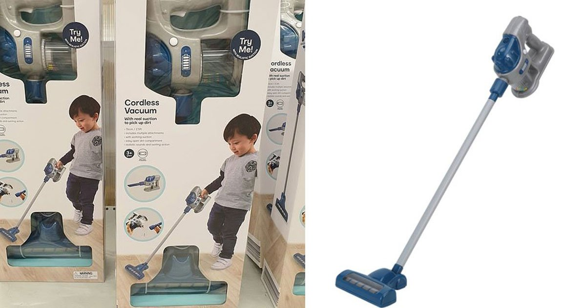kmart has released a toy vacuum cleaner for kids that can actually pick up dirt around the house.jpg?resize=412,232 - A Toy Vacuum Cleaner With Real Suction For Kids So They Could Actually Help Clean The House