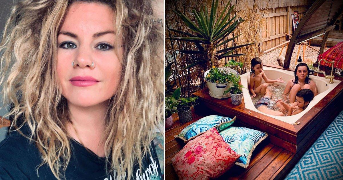 mother slammed creating diy spa bathtub.jpg?resize=412,275 - Mother Criticized For Creating A £270 DIY Spa Bathtub In Her Back Garden For Her Children