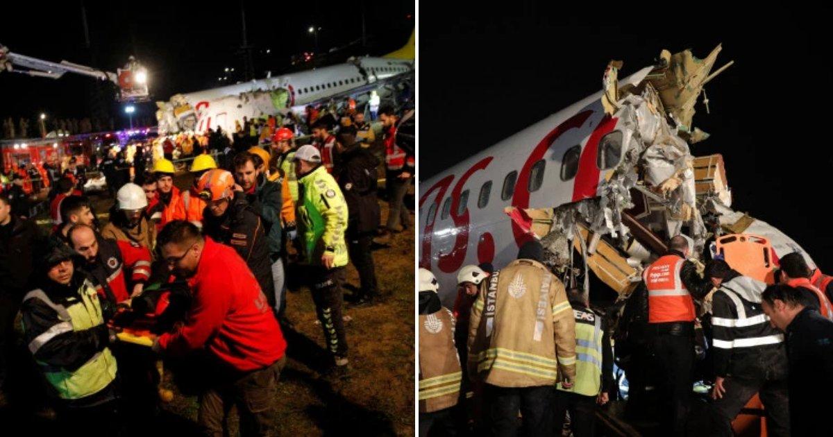 plane6.png?resize=412,232 - Un avion a plongé de 40 mètres au bout d'une piste et s'est brisé en trois parties
