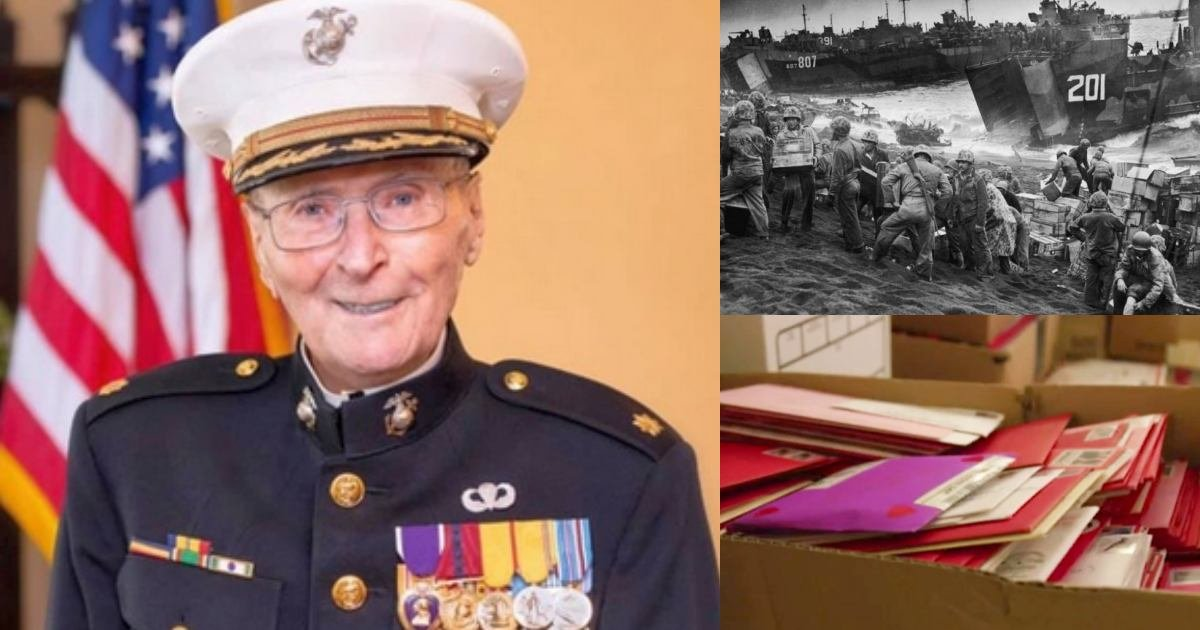thumbbb 2.jpg?resize=1200,630 - This 104-Year-Old WWII Marine Corps Veteran Gets 200,000 Valentine's Day Cards From All Over The World