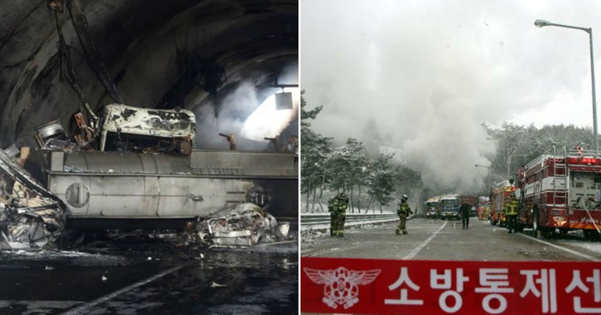 untitled 90.jpg?resize=412,232 - 17일 오전, '질산' 가득 실은 차량 전복으로 30여대 연쇄추돌 발생한 터널사고...사망자 3명, 부상자 43명 발생 (영상)