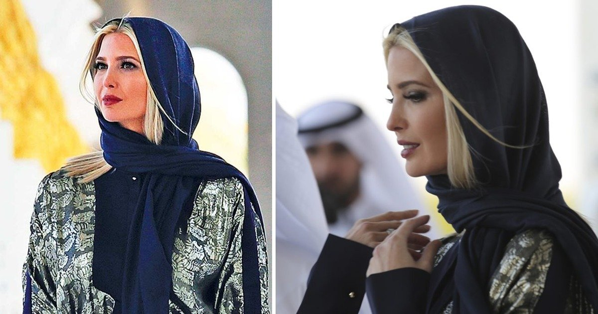 whatsapp image 2020 02 17 at 12 07 04 pm.jpeg?resize=412,232 - Barefoot Ivanka Trump After Speaking At Women's Conference Tours Dubai's Biggest mosque Wearing Silk Metallic Gown And A Headscarf
