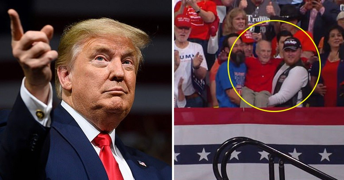 whatsapp image 2020 02 20 at 5 59 30 pm.jpeg?resize=412,232 - Heartwarming Moment Trump Praises 100 Year Old World War II Veteran Carried to Front Row Street At Trump Rally In Phoenix