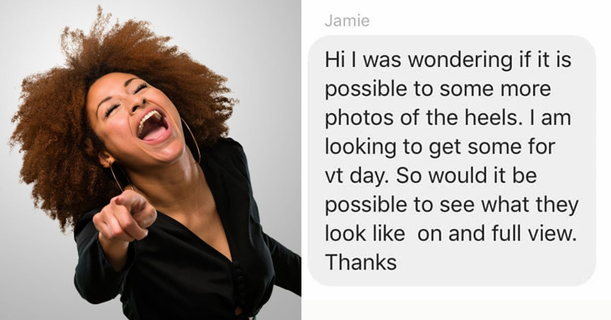 woman heels sell pup creepy men.jpg?resize=412,232 - Woman's Hilarious Response After Creepy Men Asked Her To Send Her Photos