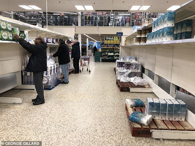 People have left supermarket shelves empty in the face of Coronavirus, with Tesco and ASDA among the supermarkets that are struggling to meet demands of soap, pasta and toilet roll (Tesco store pictured on March 3)