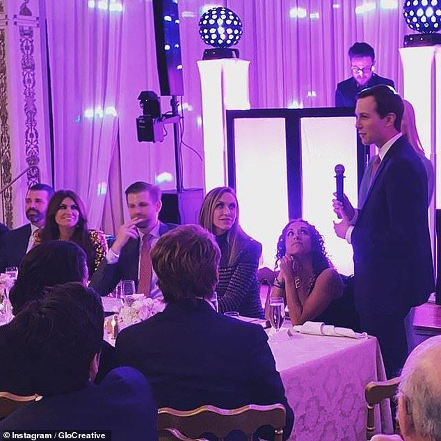 The head table of Don Jr, Kimberly Guilfoyle, Eric Trump, Lara Trump, Ivanka Trump and Jared Kushner at Guilfoyle