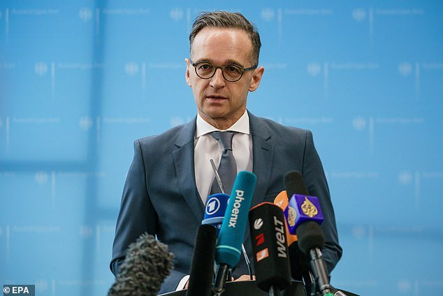German Foreign Minister Heiko Maas (pictured during a press conference today) said the government has come up with some 50 million euros (£45 million) to bring home the thousands of German citizens stuck abroad